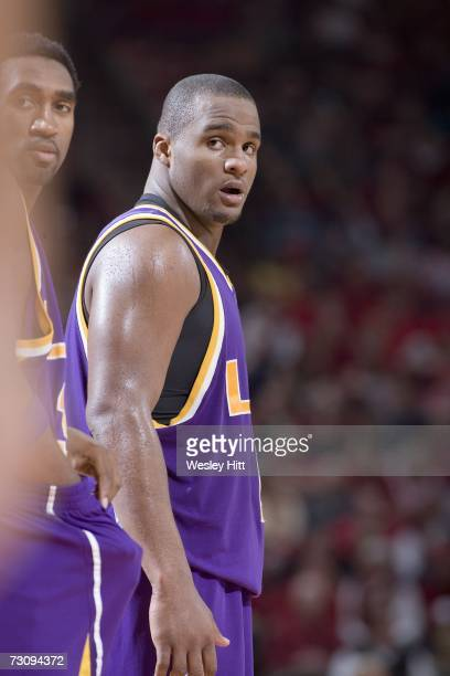 Forward Glen Davis of the LSU Tigers looks down the court against the Arkansas Razorbacks at Bud Walton Arena on January 20, 2007 in Fayetteville,...