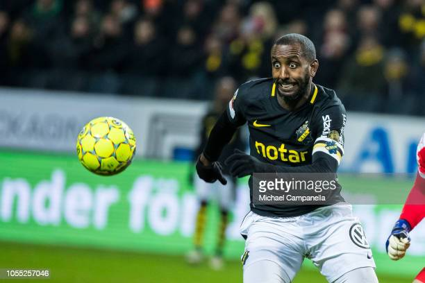 AIK forward Henok Goitom chasing the ball during an Allsvenskan match between AIK and Malmo FF at Friends Arena on October 29 2018 in Stockholm Sweden