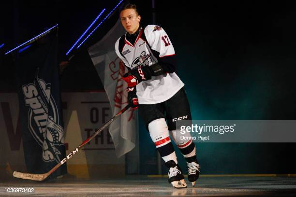 Forward Igor Larionov of the Windsor Spitfires skates to the ice prior to a game against the Guelph Storm on September 20 2018 at the WFCU Centre in...