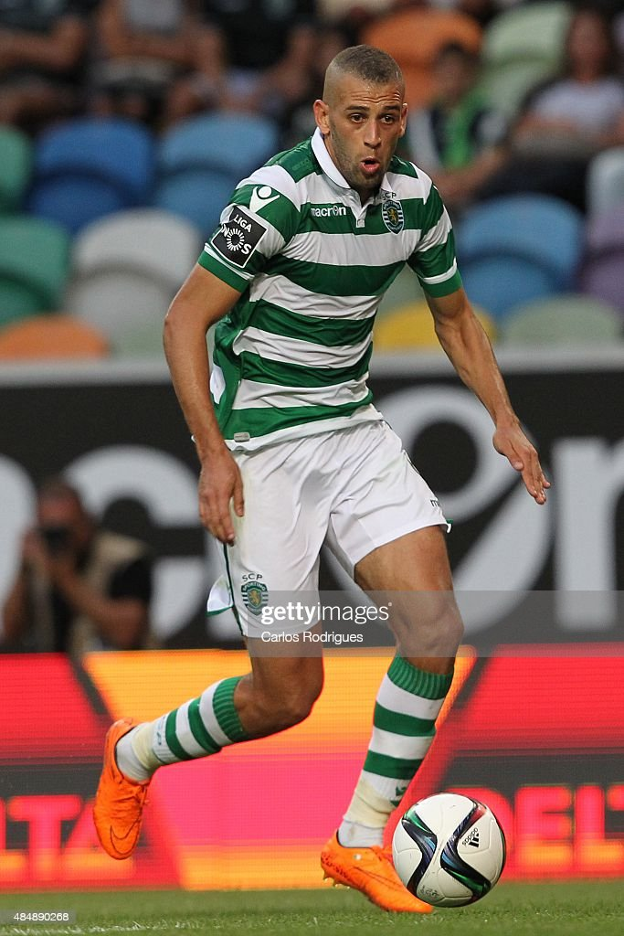 Forward Islam Slimani of Sporting CP during the match between Sporting CP and FC Pacos de Ferreira at Jose Alvalade Stadium on August 22, 2015 in Lisbon, Portugal.