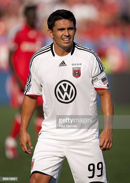 Forward Jaime Moreno of DC United follows the play during the match against the Toronto FC at BMO Field on August 15 2009 in Toronto Canada Toronto...