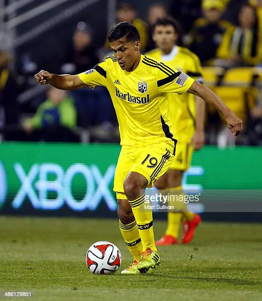 Forward Jairo Arrieta of the Columbus Crew controls the ball against DC United during the first half of their game at Columbus Crew Stadium on April...