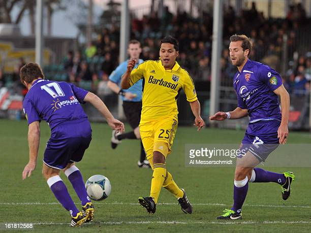 Forward Jairo Arrieta of the Columbus Crew directs play against Orlando City in the third round of the Disney Pro Soccer Classic at ESPN Wide World...
