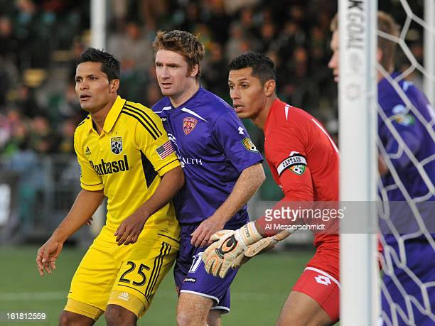 Forward Jairo Arrieta of the Columbus Crew lines up near the goal for a corner kick against Orlando City in the third round of the Disney Pro Soccer...