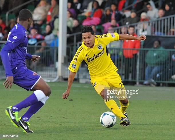 Forward Jairo Arrieta of the Columbus Crew runs upfield against Orlando City February 16 2013 in the third round of the Disney Pro Soccer Classic in...
