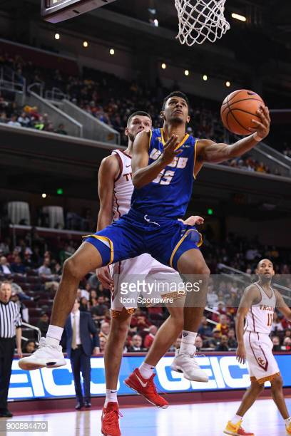 UCSB forward Jalen Canty shoots a layup during a college basketball game between the UC Santa Barbara Gauchos and the USC Trojans on November 26 at...