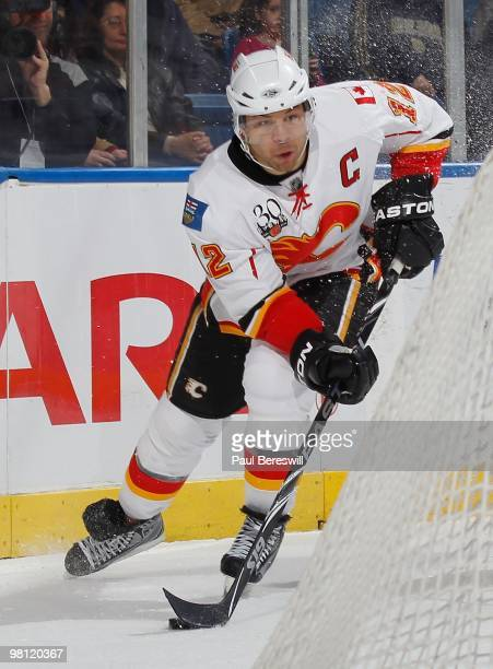Forward Jarome Iginla of the Calgary Flames skates against the New York Islanders during an NHL game at the Nassau Coliseum on March 25 2010 in...