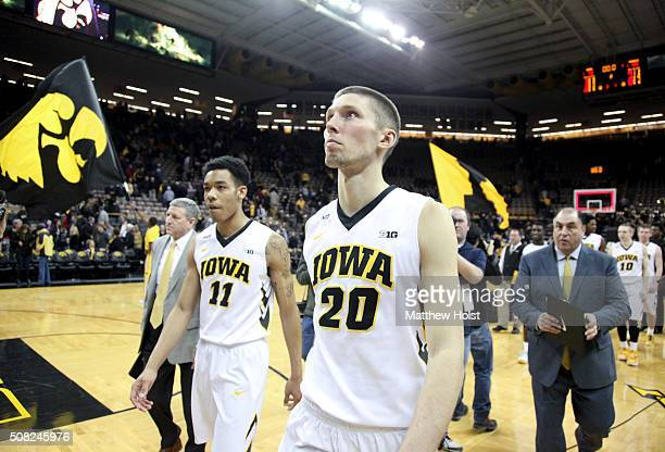 Forward Jarrod Uthoff of the Iowa Hawkeyes walks off the court after the matchup against the Penn State Nittany Lions on February 3 2016 at...