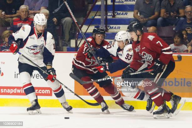 Forward Will Cuylle of the Windsor Spitfires skates to the ice prior to a game against the Guelph Storm on September 20 2018 at the WFCU Centre in...