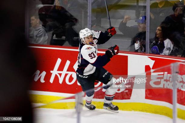Forward JeanLuc Foudy of the Windsor Spitfires celebrates his first OHL goal during the first period against goaltender Cameron Lamour of the Saginaw...