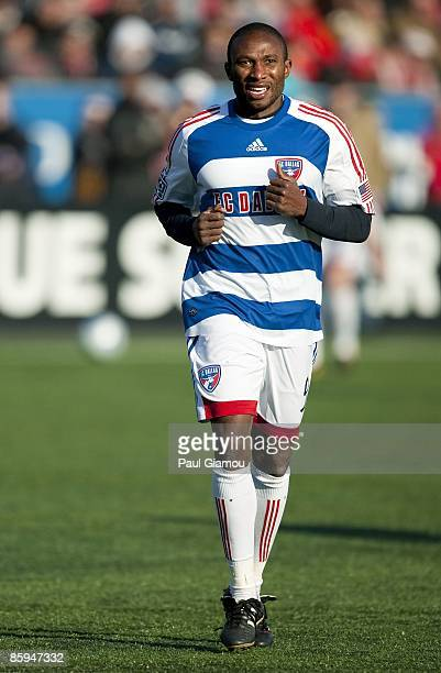 Forward Jeff Cunningham of FC Dallas follows the play during the game against the Toronto FC at BMO Field on April 11 2009 in Toronto Canada The...