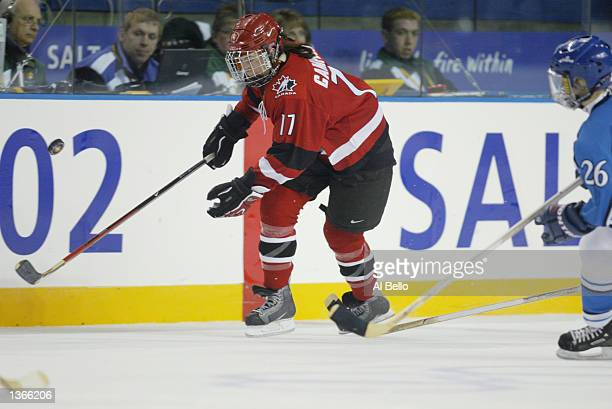 Forward Jennifer Botterill of Canada plays the puck against Finland during their game at the Salt Lake City Winter Olympic Games on February 19 2002...