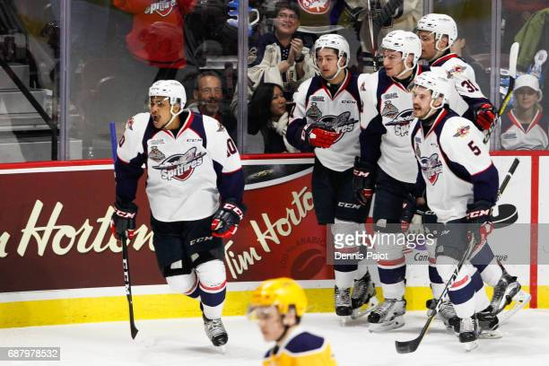 Forward Jeremiah Addison of the Windsor Spitfires celebrates his first period goal against the Erie Otters on May 24 2017 during Game 6 of the...