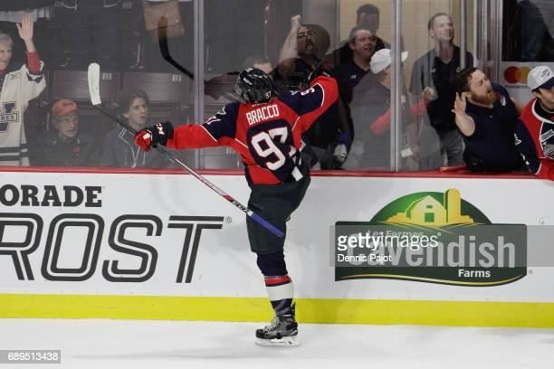Forward Jeremy Bracco of the Windsor Spitfires celebrates his first period goal against the Erie Otters on May 28 2017 during the championship game...