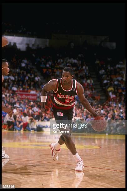 Forward Jerome Kersey of the Portland Trail Blazers moves the ball during a game