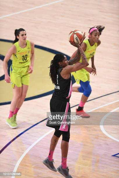 Forward Jessica Breland of the Atlanta Dream shoots the ball during the game against the Dallas Wings on August 11 2018 at McCamish Pavilion in...