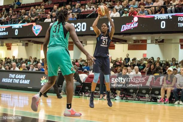 Forward Jessica Breland of the Atlanta Dream shoots the ball during the game against the New York Liberty on August 12 2018 at Westchester County...
