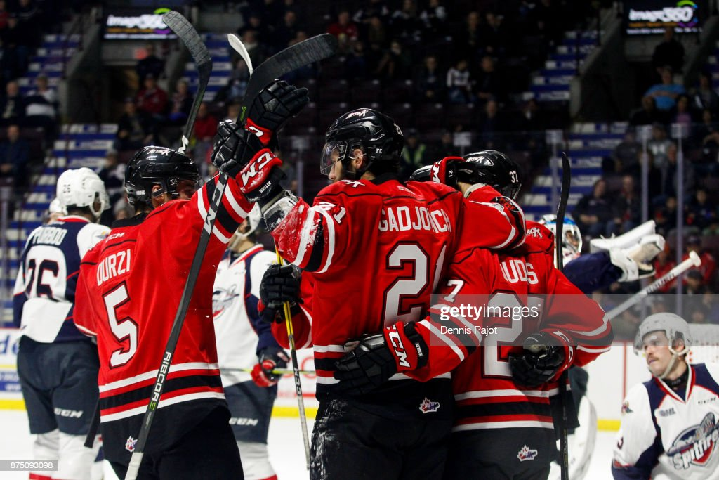 Forward Jonah Gadjovich #21 of the Owen Sound Attack celebrates his first period goal against the Windsor Spitfires on November 16, 2017 at the WFCU Centre in Windsor, Ontario, Canada.
