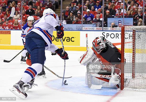 USA forward Jordan Greenway scores on Canada goalie Connor Ingram during the first period at the World Junior Hockey Championships on December 31 at...