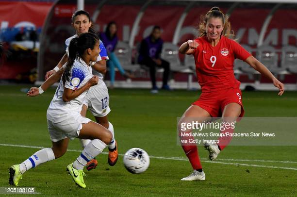 Forward Jordyn Huitema of Canada controls the ball against Costa Rica in the second half of a CONCACAF Women's Olympic Qualifying semifinals at...