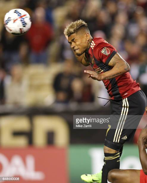Forward Josef Martinez of Atlanta United heads the ball during the game against the New York Red Bulls at Bobby Dodd Stadium on March 5 2017 in...
