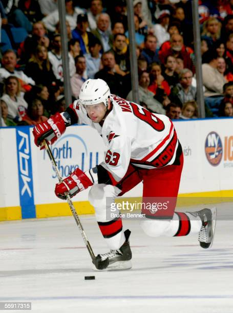 Forward Josef Vasicek of the Carolina Hurricanes controls the puck against the New York Islanders during the game on October 8, 2005 at the Nassau...