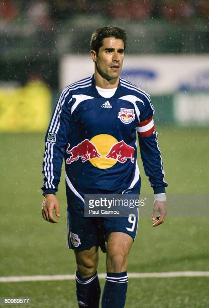 Forward Juan Pablo Angel of the New York Red Bulls looks on against the Toronto FC on May 1, 2008 at BMO Field in Toronto, Canada