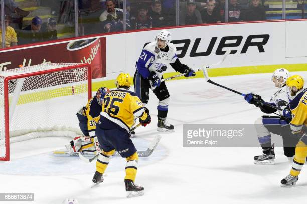 Forward Julien Gauthier of the Saint John Sea Dogs fires his second period goal against goaltender Troy Timpano of the Erie Otters on May 26 2017...