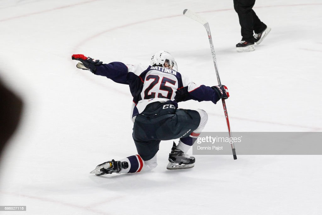 Forward Julius Nattinen #25 of the Windsor Spitfires celebrates his second-period goal against the Seattle Thunderbirds on May 21, 2017 during Game 3 of the Mastercard Memorial Cup at the WFCU Centre in Windsor, Ontario, Canada.