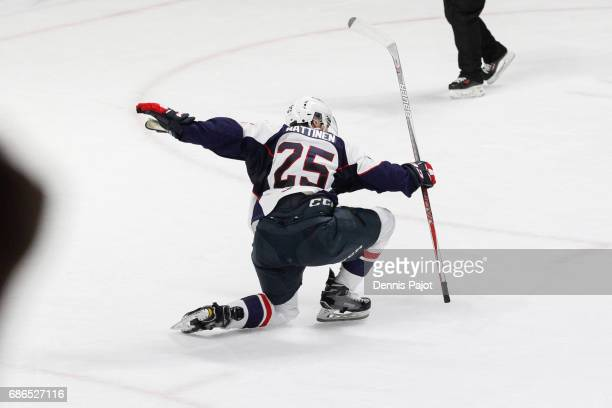 Forward Julius Nattinen of the Windsor Spitfires celebrates his secondperiod goal against the Seattle Thunderbirds on May 21 2017 during Game 3 of...
