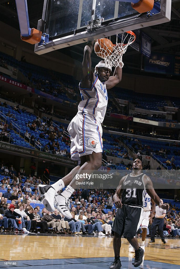 Forward Jumaine Jones #33 of the Cleveland Cavaliers dunks against the San Antonio Spurs during the game at Gund Arena on November 16, 2002 in Cleveland, Ohio. The Spurs won 90-77.