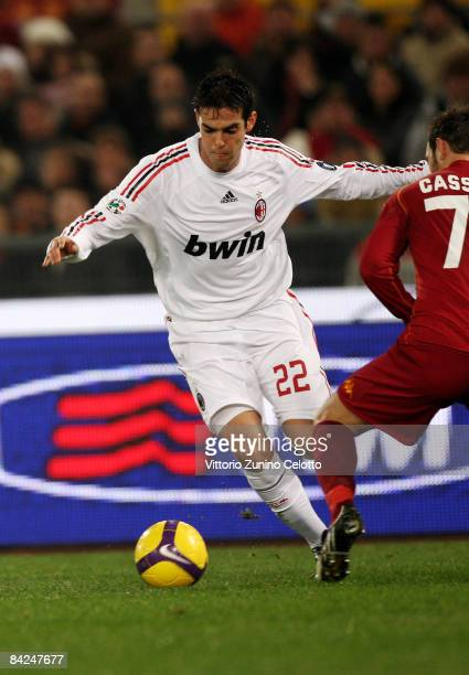 Forward Kaka of AC Milan in action during the Serie A match between AS Roma v AC Milan held at Stadio Olimpico on January 11 2009 in Rome Italy