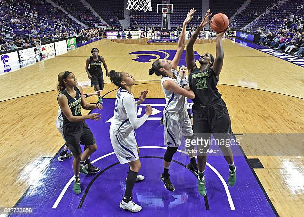 Forward Kalani Brown of the Baylor Bears puts up a shot against forward Jessica Sheble of the Kansas State Wildcats during the second half on January...