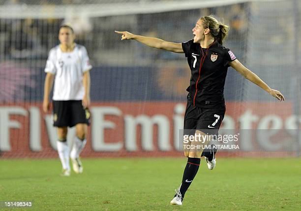 US forward Kealia Ohai celebrates her goal during the FIFA U20 Women's World Cup Japan final match against Germany at the national stadium in Tokyo...