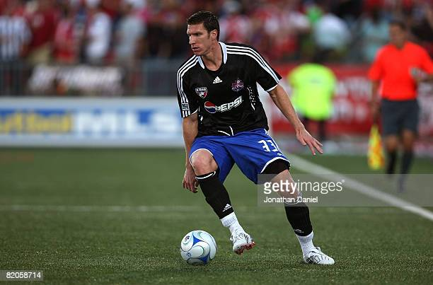 Forward Kenny Cooper of FC Dallas with the ball during the 2008 Pepsi MLS All Star Game between the MLS All Stars and West Ham United at BMO Field on...