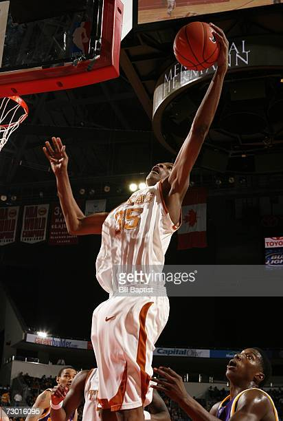 Forward Kevin Durant of the Texas Longhorns gets a rebound during the game against the LSU Tigers at the Toyota Center on December 10 2006 in Houston...