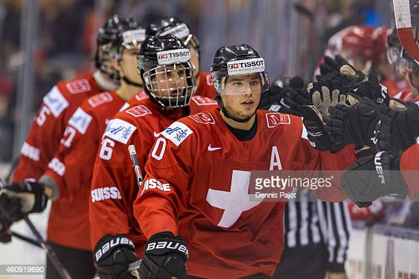 Forward Kevin Fiala of Switzerland celebrates his goal against Denmark during the 2015 IIHF World Junior Championship on December 30 2014 at the Air...