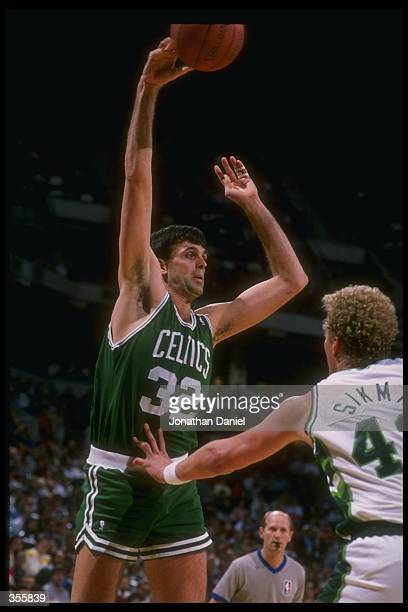 Forward Kevin McHale of the Boston Celtics shoots the ball during a game versus the Milwaukee Bucks at the Bradley Center in Milwaukee Wisconsin