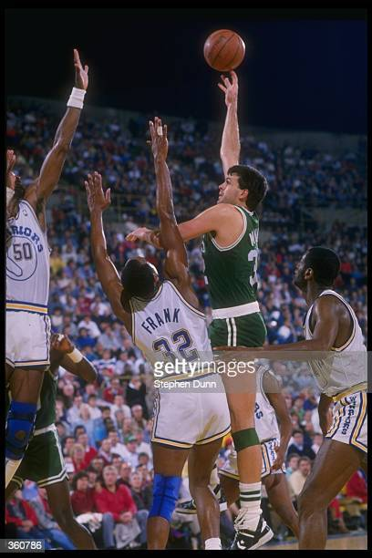 Forward Kevin McHale of the Boston Celtics shoots the ball during a game versus the Golden State Warriors at the Oakland Coliseum Arena