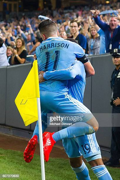 Forward Khiry Shelton and Jack Harrison of New York City FC celebrate after scoring a goal during the match vs FC Dallas at Yankee Stadium on...