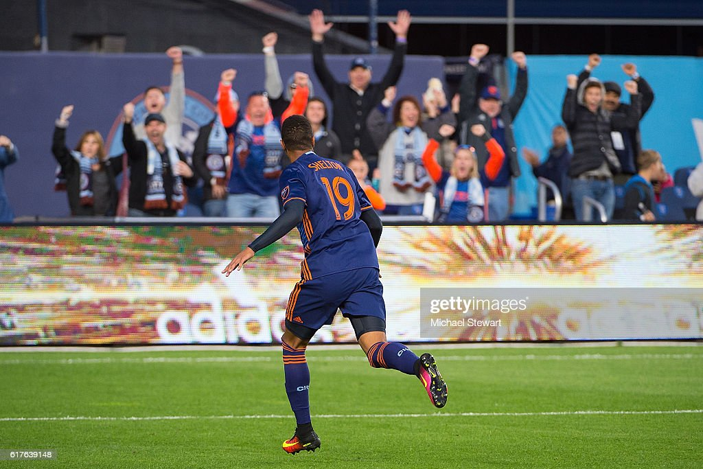 Forward Khiry Shelton #19 of New York City FC celebrates after scoring a goal during the match vs Columbus Crew SC at Yankee Stadium on October 23, 2016 in New York City. New York City FC defeats Columbus Crew SC