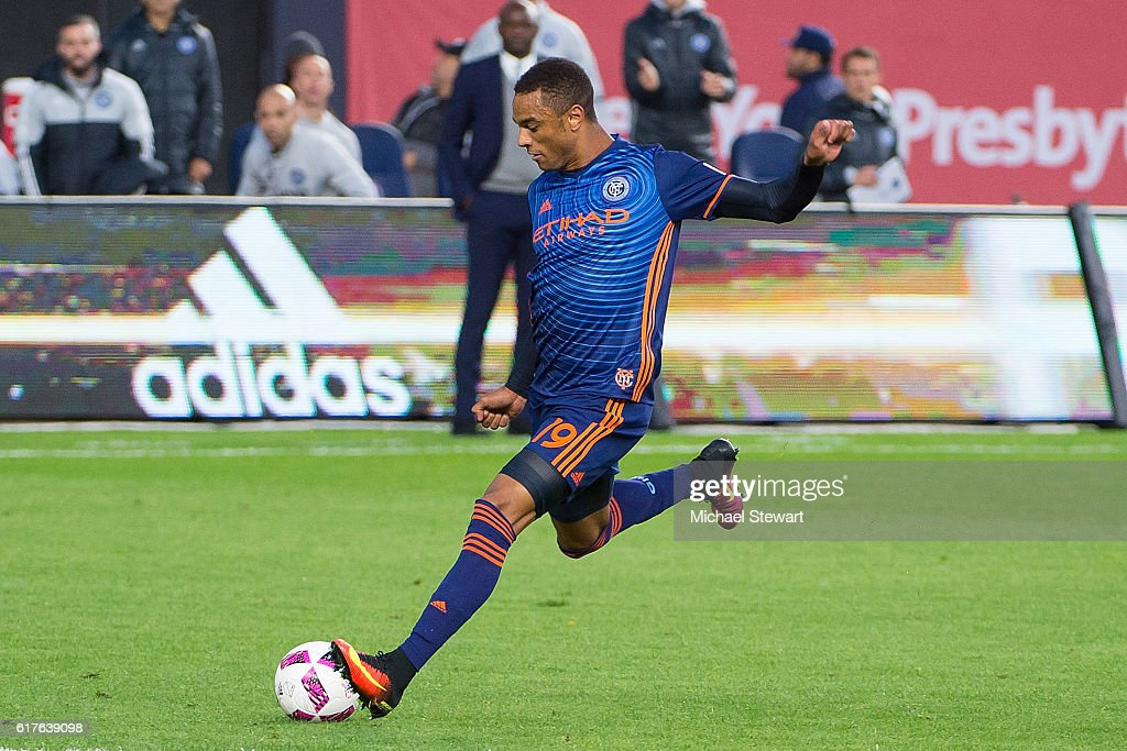 Forward Khiry Shelton #19 of New York City FC scores a goal during the match vs Columbus Crew SC at Yankee Stadium on October 23, 2016 in New York City. New York City FC defeats Columbus Crew SC