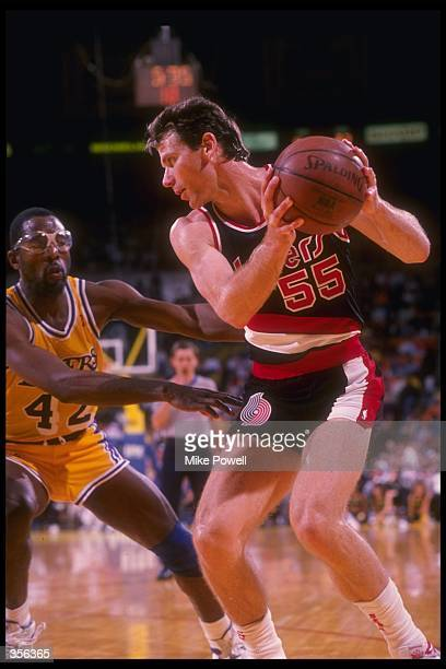 Forward Kiki Vandeweghe of the Portland Trail Blazers looks to pass the ball during a game Mandatory Credit Mike Powell /Allsport Mandatory Credit...