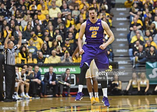 Forward Klint Carlson of the Northern Iowa Panthers celebrates after scoring a threepointer against the Wichita State Shockers during the first half...