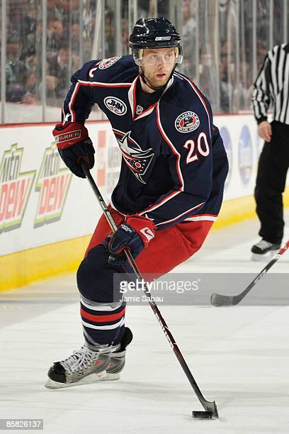 Forward Kristian Huselius of the Columbus Blue Jackets skates with the puck against the Nashville Predators on March 31, 2009 at Nationwide Arena in...