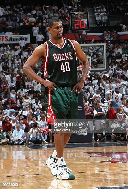 Forward Kurt Thomas of the Milwaukee Bucks takes a break on the court during Game Seven of the Eastern Conference Quarterfinals between the Milwaukee...