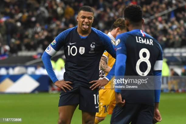 Forward Kylian Mbappe of France football team in action during the UEFA Euro 2020 Qualifier match between France and Moldova at Stade de France on...