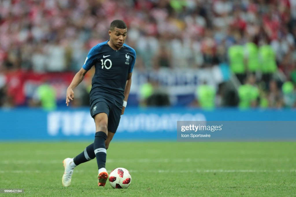 Forward Kylian Mbappe of France National team during the final match between France and Croatia at the FIFA World Cup on July 15, 2018 at the Luzhniki Stadium in Moscow, Russia.
