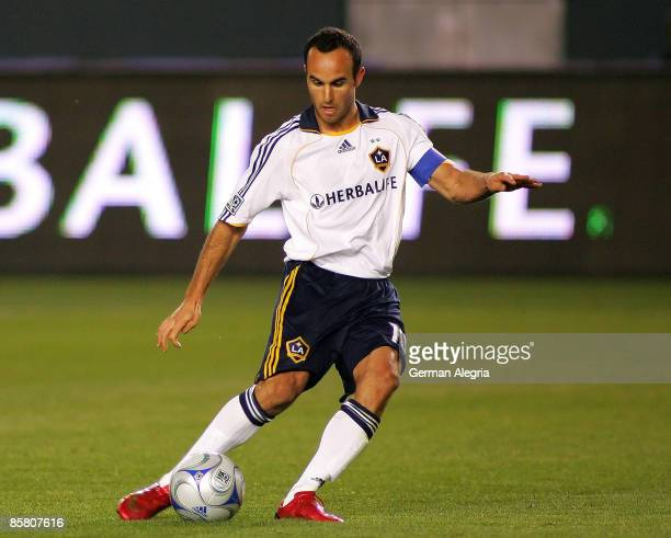 Forward Landon Donovan of the Los Angeles Galaxy in action against the defensive line of the Colorado Rapids during their MLS game at The Home Depot...