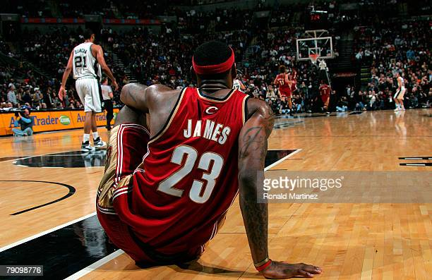 Forward LeBron James of the Cleveland Cavaliers sits on the court during play with the San Antonio Spurs on January 17, 2008 at AT&T Center in San...